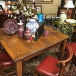 Wood Table w/ 4 Vinyl Chairs Item#445717